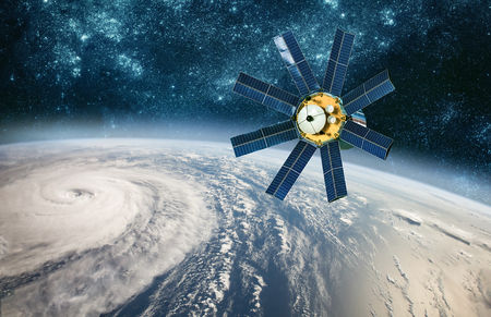 Space satellite monitoring from earth orbit weather from space