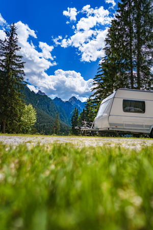 Family vacation travel, holiday trip in motorhome RV, Caravan car Vacation. Stock Photo - 116949289