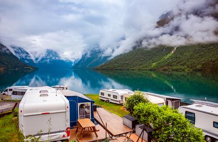 Family vacation travel RV, holiday trip in motorhome, Caravan car Vacation. Beautiful Nature Norway natural landscape. Imagens