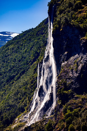 Geiranger fjord, waterfall Seven Sisters. Beautiful Nature Norway natural landscape.
