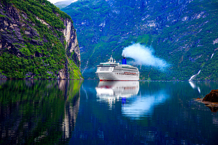 Cruise Ship, Cruise Liners On Geiranger fjord, Norway.