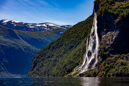 Geiranger fjord, waterfall Seven Sisters. Beautiful Nature Norway natural landscape. 写真素材 - 125020157