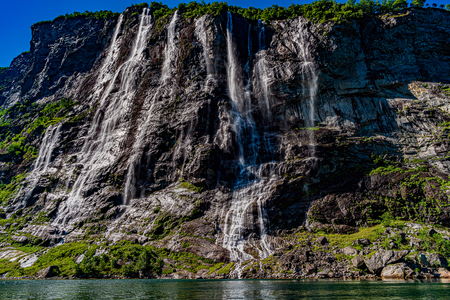 Geiranger fjord, waterfall Seven Sisters. Beautiful Nature Norway natural landscape. 写真素材 - 125020155