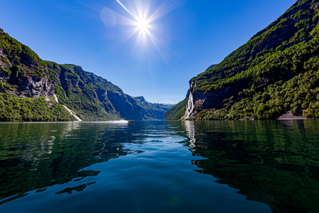 Geiranger fjord, waterfall Seven Sisters. Beautiful Nature Norway natural landscape. 写真素材 - 125020161