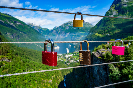 Geiranger fjord Lookout observation deck view point 写真素材 - 125020163