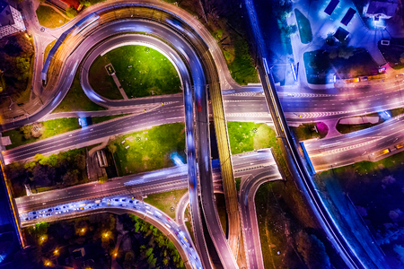 Night Aerial view of a freeway intersection traffic trails in night Moscow 写真素材 - 125020165
