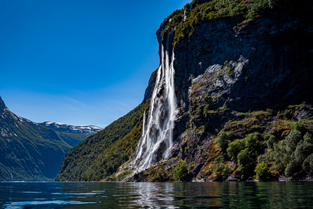 Geiranger fjord, waterfall Seven Sisters. Beautiful Nature Norway natural landscape. 写真素材 - 125020171