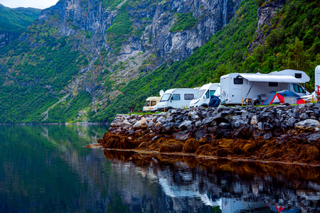 Family vacation travel RV, holiday trip in motorhome, Caravan car Vacation. Stock fotó