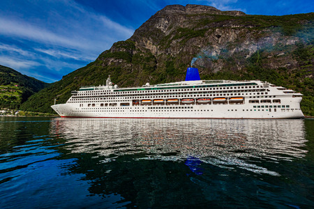 Cruise Ship, Cruise Liners On Geiranger fjord, Norway. Stock fotó