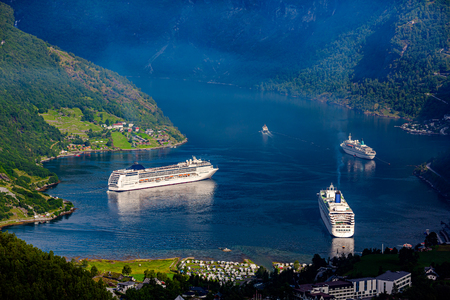 Cruise ship at the Geiranger fjord, Beautiful Nature Norway. 写真素材 - 125019820