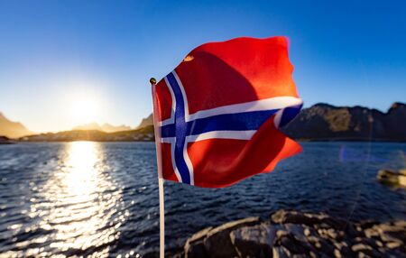 Norway Flag. Beautiful Nature Norway natural landscape. 写真素材 - 128817214