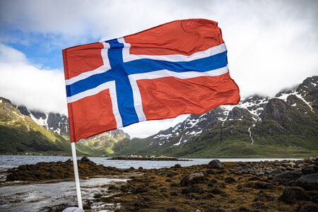 Norway Flag. Beautiful Nature Norway natural landscape. 写真素材 - 128817234