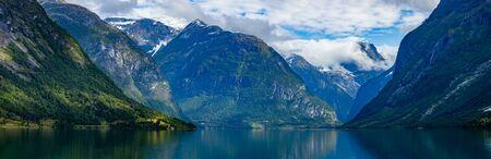 Panorama Beautiful Nature Norway natural landscape.