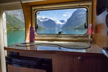 View from the window of the motorhome RV Caravan on the beautiful nature of Norway.