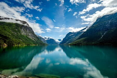 Beautiful Nature Norway natural landscape. lovatnet lake Lodal valley. 写真素材