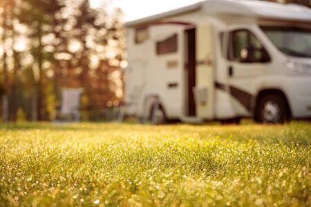 Family vacation travel RV, holiday trip in motorhome, Caravan car Vacation. 写真素材