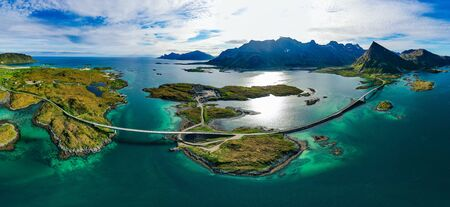 Fredvang Bridges Panorama. Lofoten islands is an archipelago in the county of Nordland, Norway. Stockfoto
