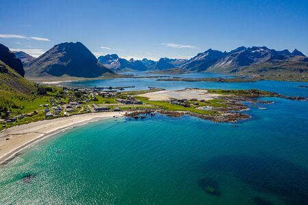 Panorama Beach Lofoten islands is an archipelago in the county of Nordland, Norway.