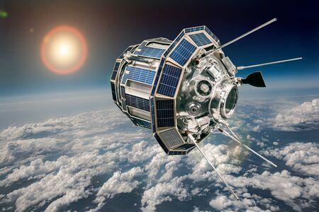 Satélite espacial orbitando la tierra. Foto de archivo