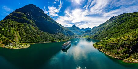Geiranger fjord, Beautiful Nature Norway. The fjord is one of Norway's most visited tourist sites. 写真素材 - 130315872
