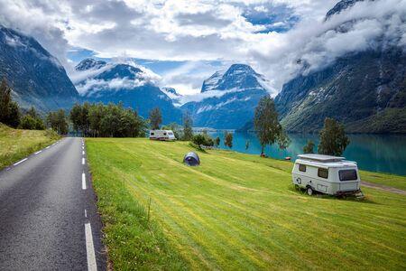 Family vacation travel RV, holiday trip in motorhome, Caravan car Vacation. 写真素材 - 130315873