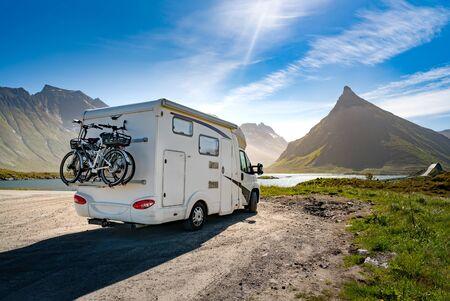 Family vacation travel RV, holiday trip in motorhome, Caravan car Vacation. 写真素材 - 130315935