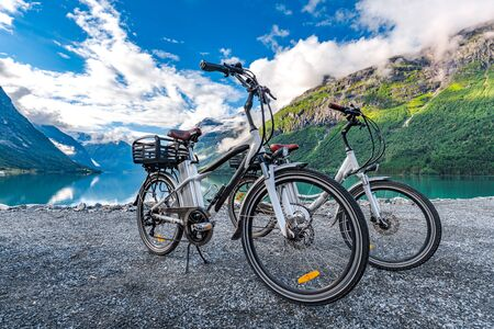 Electric bicycle on the  of nature Norway 写真素材 - 130315939