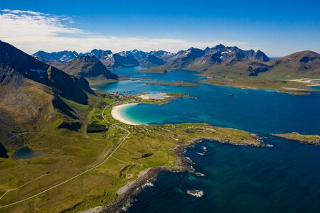Panorama Beach Lofoten islands is an archipelago in the county of Nordland, Norway. 写真素材 - 130315942