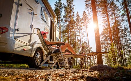 Family vacation travel RV, holiday trip in motorhome, Caravan car Vacation. 写真素材 - 130315940