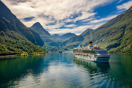 Geiranger fjord, Beautiful Nature Norway. The fjord is one of Norway's most visited tourist sites. 写真素材 - 130315944