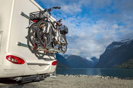 Family vacation travel RV, holiday trip in motorhome, Caravan car Vacation. 写真素材 - 130315946
