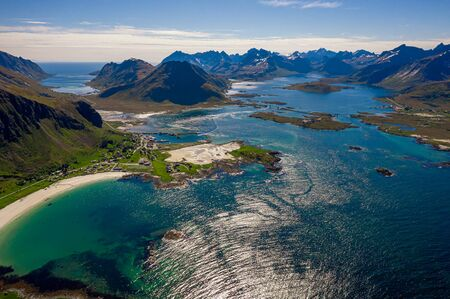Panorama Beach Lofoten islands is an archipelago in the county of Nordland, Norway. 写真素材 - 130316000