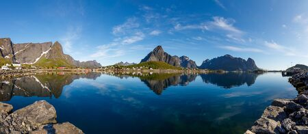 Panorama Lofoten is an archipelago in the county of Nordland, Norway. 写真素材 - 130316012