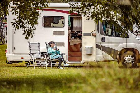 Family vacation travel RV, holiday trip in motorhome, Caravan car Vacation. 写真素材 - 130316015