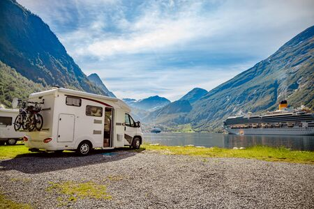 Geiranger fjord, Beautiful Nature Norway. Family vacation travel RV, holiday trip in motorhome, Caravan car Vacation