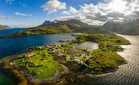 Beautiful Nature Norway natural landscape. Aerial view of the campsite to relax. Family vacation travel, holiday trip in motorhome RV. 写真素材