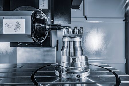Metalworking CNC lathe milling machine. Cutting metal modern processing technology. Milling is the process of machining using rotary cutters to remove material by advancing a cutter into a workpiece. 写真素材 - 131393449