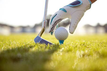 Hand in glove placing golf ball on tee 写真素材