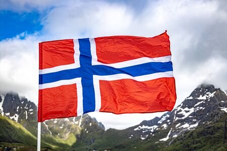 Norway Flag. Beautiful Nature Norway natural landscape. 写真素材 - 131393579