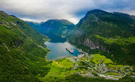 Geiranger fjord, Beautiful Nature Norway. The fjord is one of Norway's most visited tourist sites.