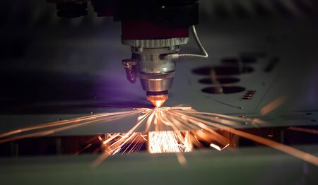 CNC Laser cutting of metal modern industrial technology.
