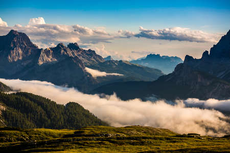 Scenic view of the beautiful landscape in the Alps, Beautiful nature of Italy Dolomites Alps.