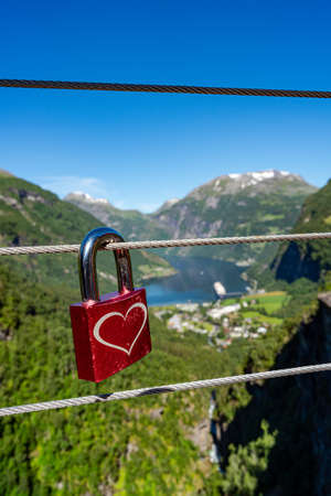 Geiranger fjord Lookout observation deck view point, Beautiful Nature Norway. It is a 15-kilometre (9.3 mi) long branch off of the Sunnylvsfjorden, which is a branch off of the Storfjorden. 写真素材