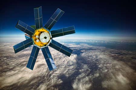 Space satellite orbiting the earth. 版權商用圖片