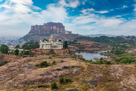 Jaswant Thada is a cenotaph located in Jodhpur, in the Indian state of Rajasthan. Jaisalmer Fort is situated in the city of Jaisalmer, in the Indian state of Rajasthan. Sajtókép