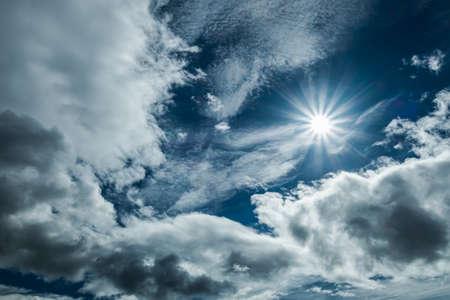Sun in blue sky background Standard-Bild