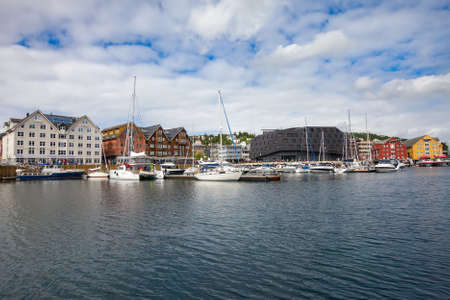 View of a marina in Tromso, North Norway. Tromso is considered the northernmost city in the world with a population above 50,000.