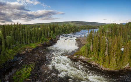 Ristafallet waterfall in the western part of Jamtland is listed as one of the most beautiful waterfalls in Sweden. Standard-Bild