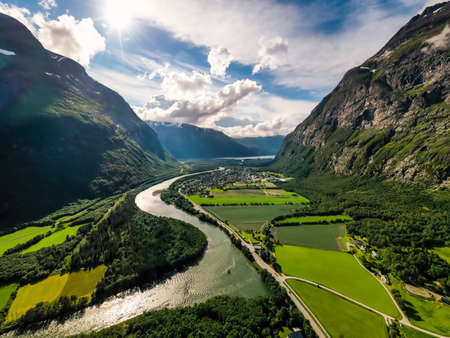 Village of Sunndalsora lies at the mouth of the river Driva at the beginning of the Sunndalsfjorden. Beautiful Nature Norway natural landscape.
