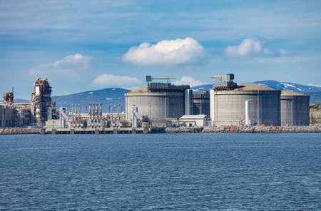Hammerfest Island Muolkkut Northern Norway, gas processing plant. Standard-Bild